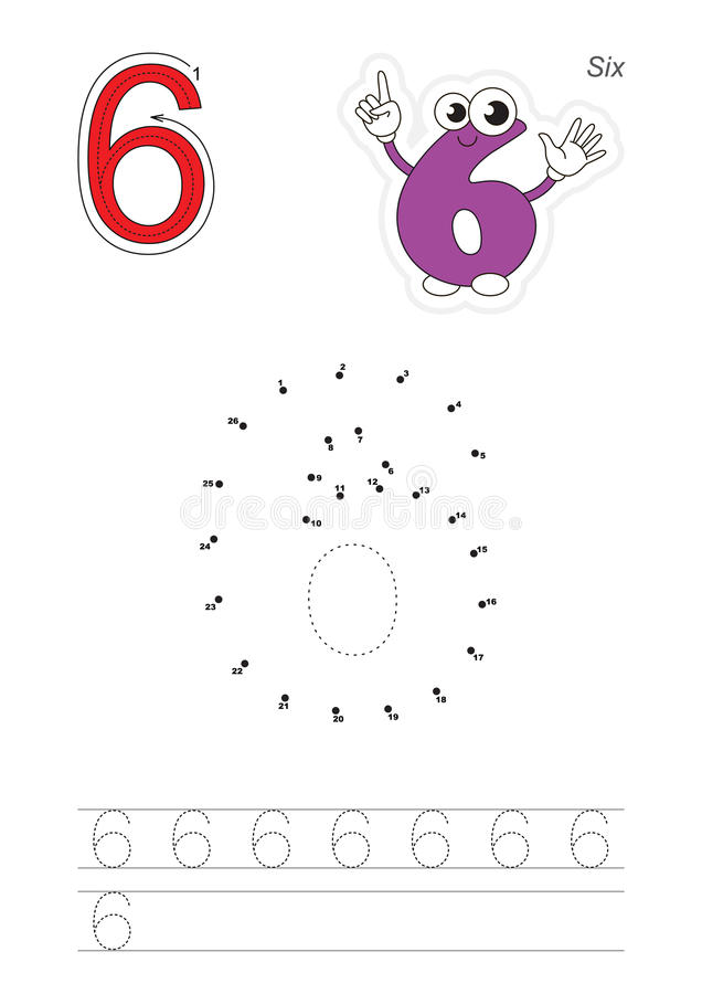Numbers game for figure Six stock illustration