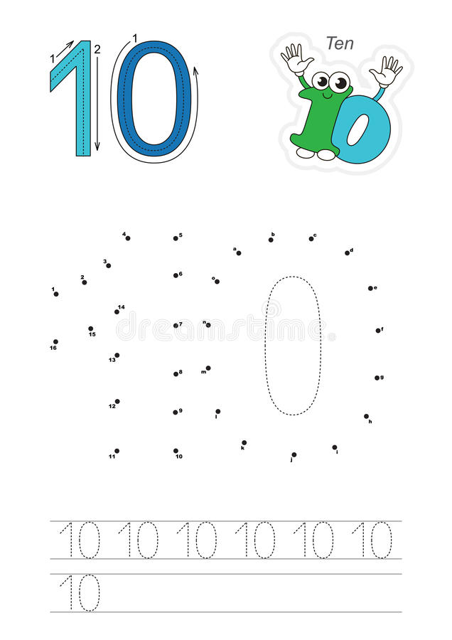 Numbers game for figure Ten royalty free illustration