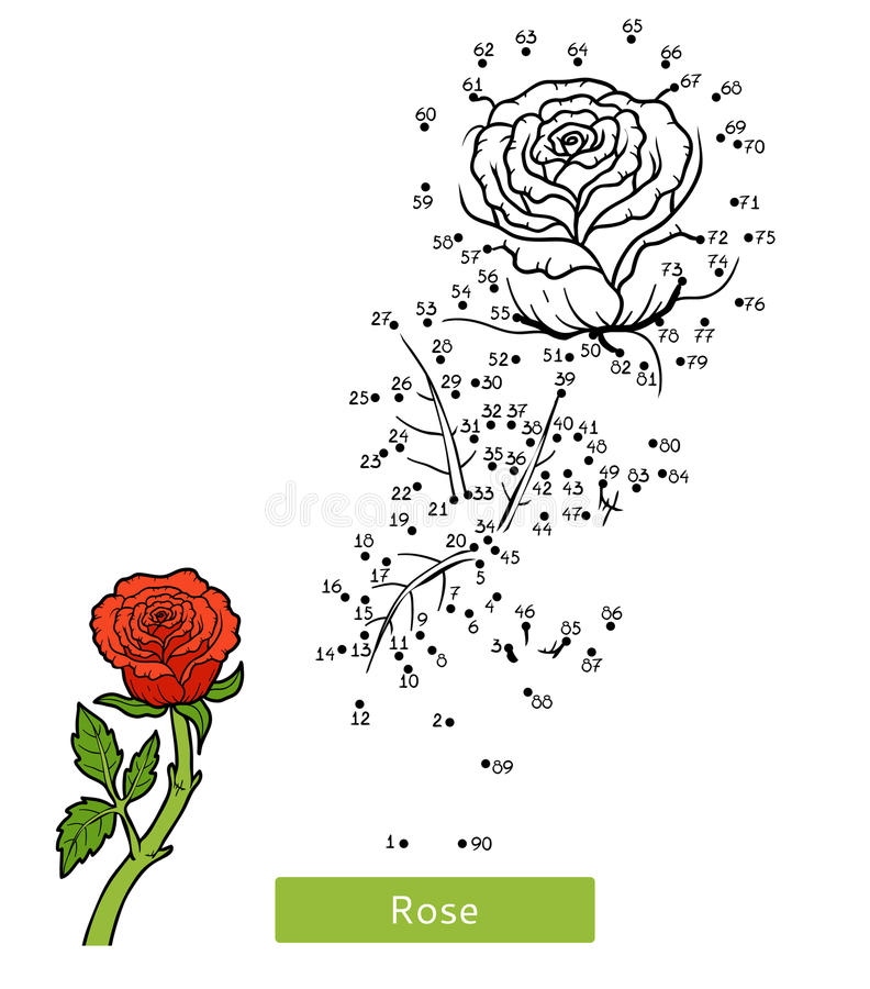 Numbers game, flower Rose royalty free illustration