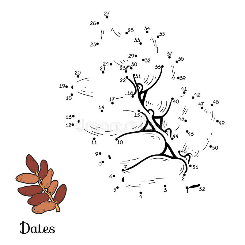 Numbers game: fruits and vegetables (dates). Numbers game for children: fruits and vegetables (dates stock illustration