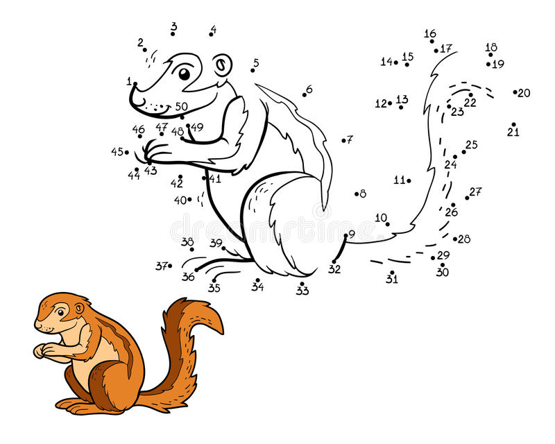 Numbers game, game for children (ground squirrel, xerus). Numbers game, education game for children (ground squirrel, xerus royalty free illustration