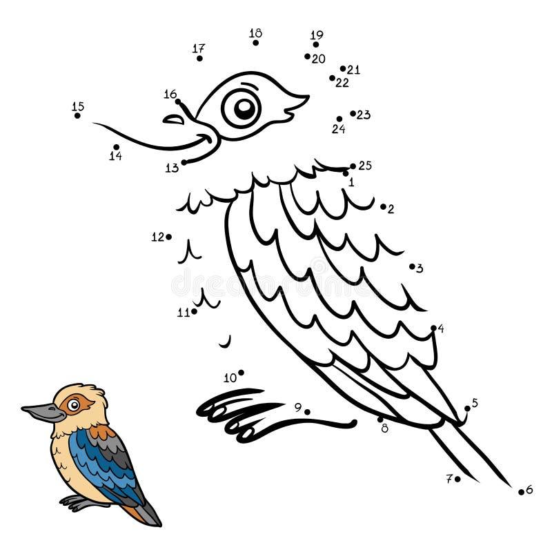 Numbers game, Kookaburra. Numbers game, education dot to dot game for children, Kookaburra vector illustration