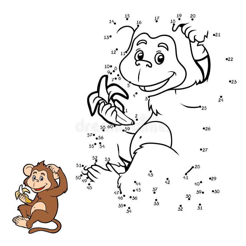 Free Numbers Game: Little Monkey With A Banana Stock Photography - 60178982