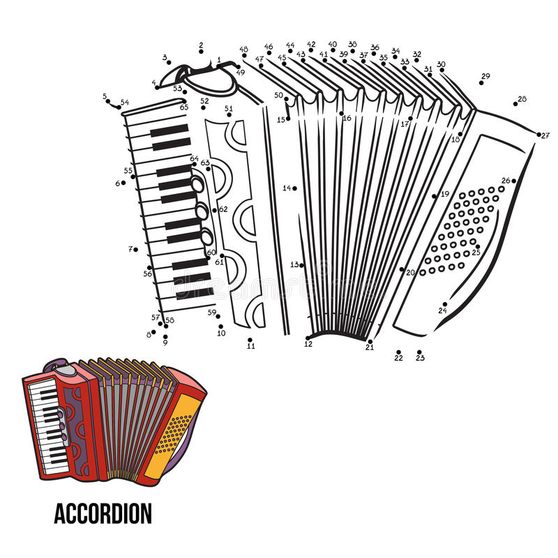 Numbers game: musical instruments (accordion). Numbers game for children: musical instruments (accordion stock illustration