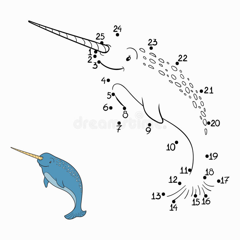Numbers game (narwhal). Numbers game for children (narwhal royalty free illustration