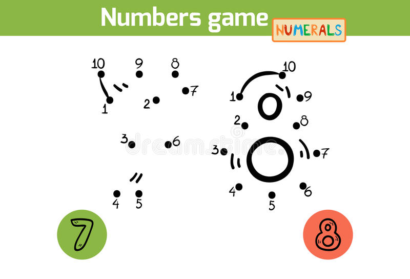 Numbers game (Numerals): seven, eight royalty free illustration