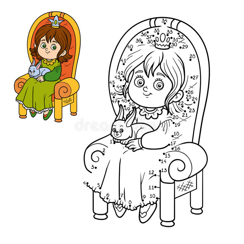 Numbers game, princess seated on a throne. Numbers game, education game for children, young princess seated on a throne with the bunny in hands stock illustration