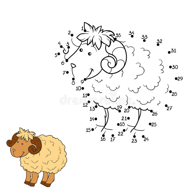 Numbers game (sheep) vector illustration