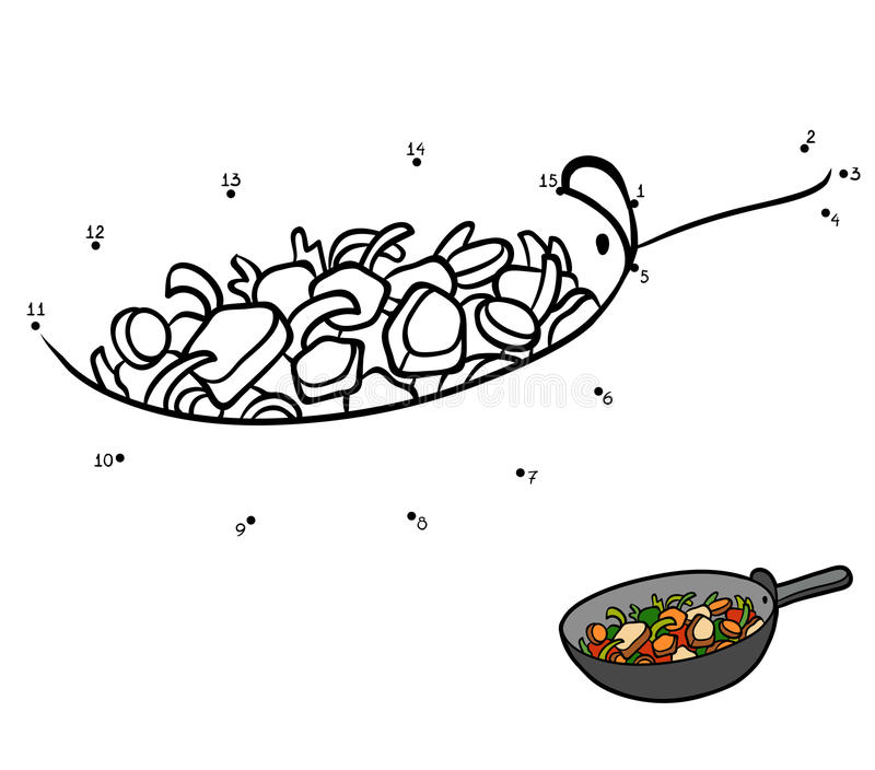 Numbers game, Vegetables in a frying pan. Numbers game, education dot to dot game for children, Vegetables in a frying pan vector illustration