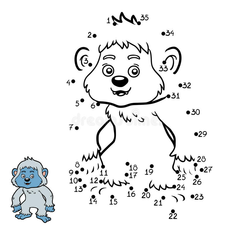 Numbers game, Yeti vector illustration