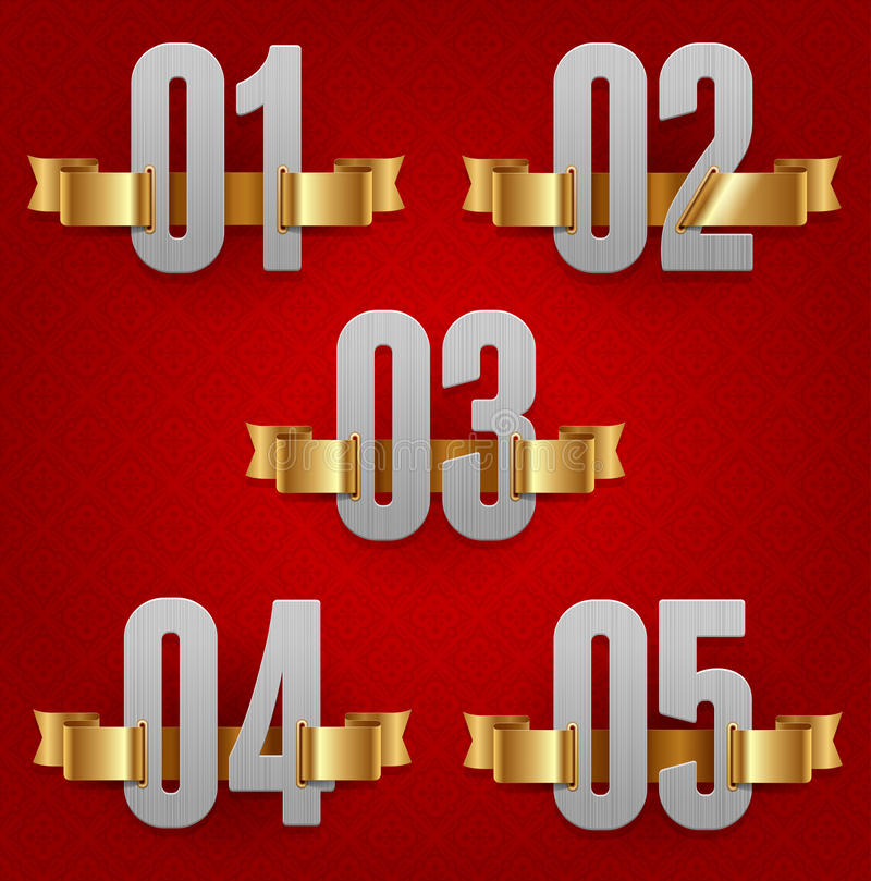 Numbers With Golden Ribbons Royalty Free Stock Photography