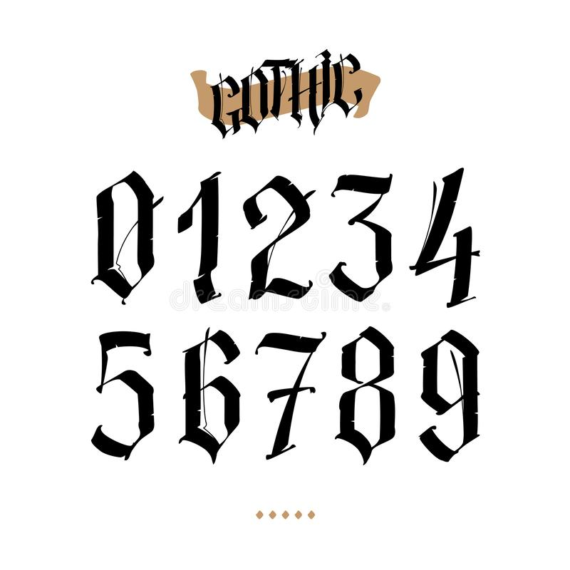 The numbers are in the Gothic style. Vector. Symbols isolated on white background. Calligraphy and lettering. Medieval figures. vector illustration