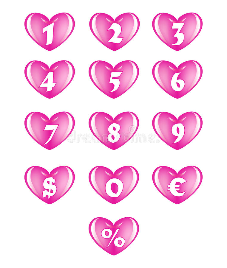 Download Numbers in the heart stock illustration. Image of colorful - 23219077