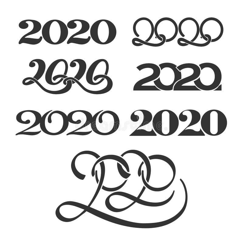 Numbers 2020 logo set stock illustration