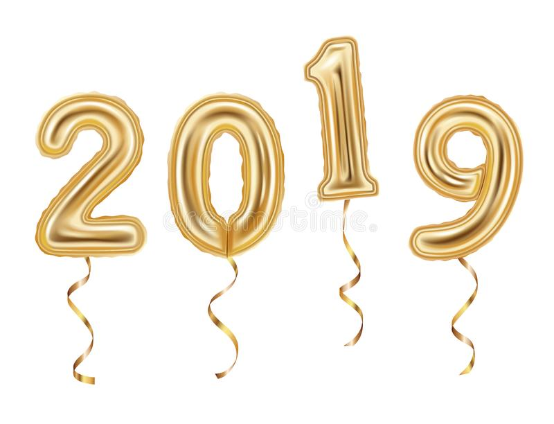 Numbers 2019 made of golden balloons isolated on white background 2019 New year concept. royalty free illustration