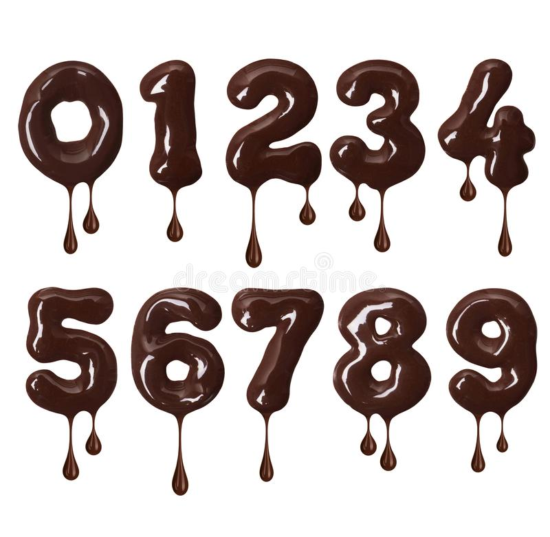 Numbers made of melted chocolate with falling drops in high resolution royalty free illustration