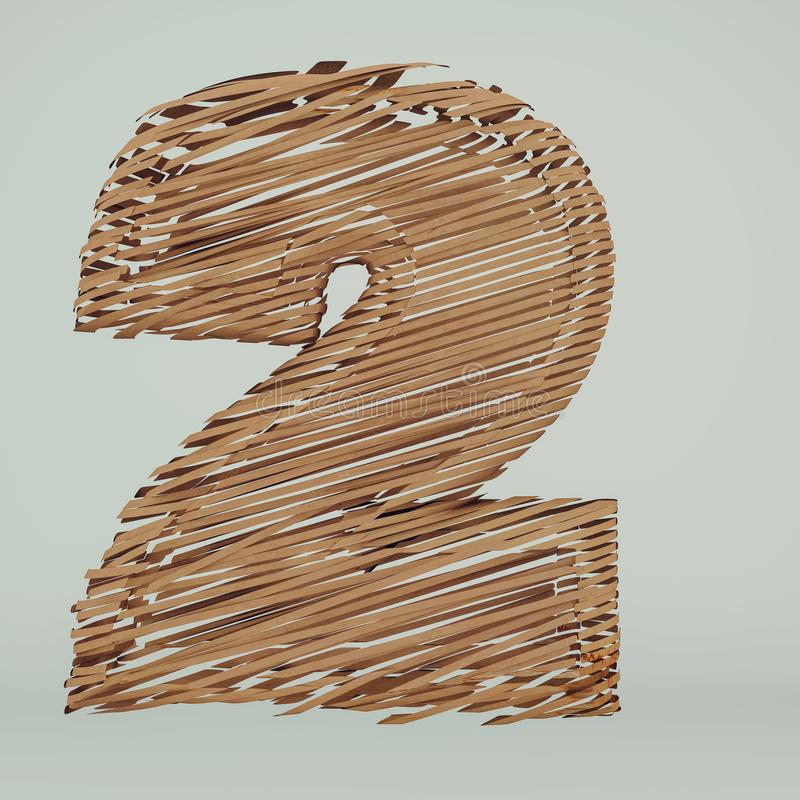 Numbers 2 made of recycled sliced cardboard, High-resolution 3d rendering royalty free illustration