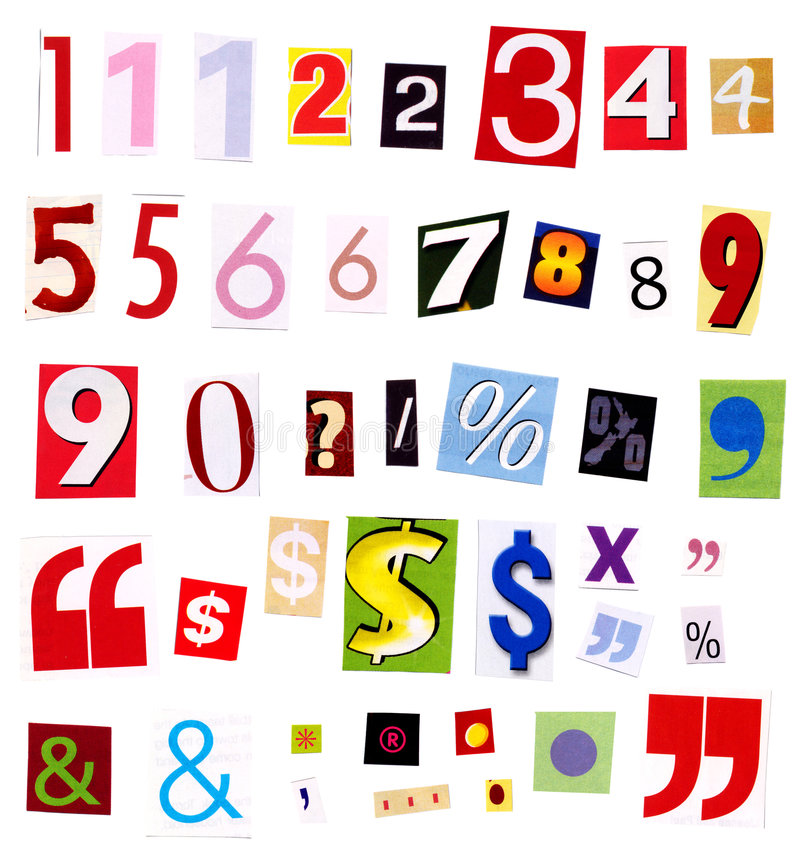 Numbers magazine cutouts stock photos