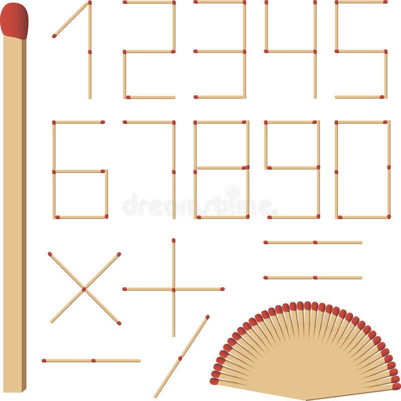 The numbers of matches stock illustration