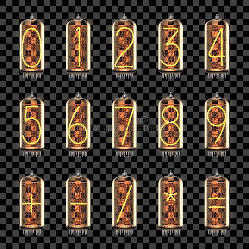 Numbers, math symbols set on tube indicator lamps stock illustration