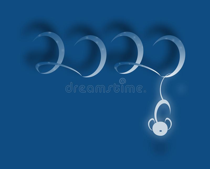 Numbers 2020 with symbolic mouse holding with the tail. New year concept illustration royalty free stock images