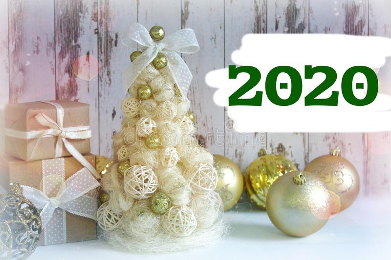 The numbers 2020. New year, Christmas card.New year, Christmas background, rustic style. royalty free stock photography