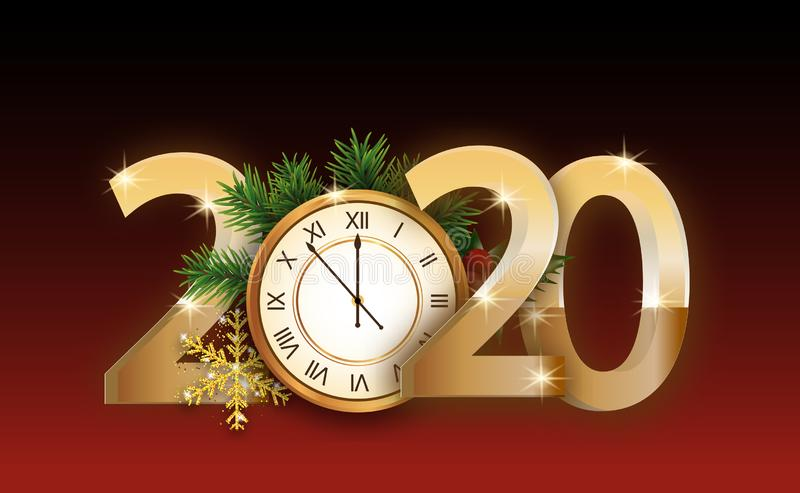 2020 numbers New year poster with golden clock decorated branches Christmas tree and snowflake. Design elements for a flyer, sale royalty free illustration