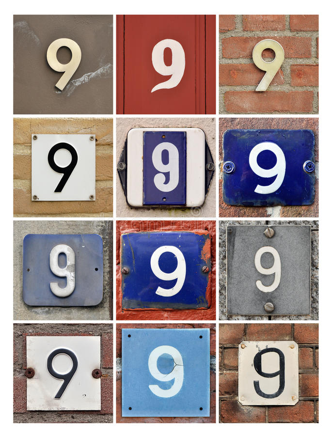 Numbers Nine. Collage of House Numbers Nine stock photography
