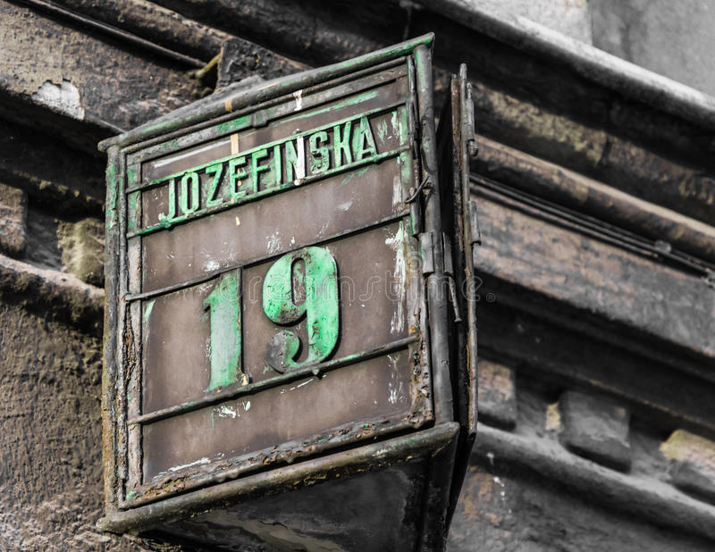 The numbers nineteen on a house royalty free stock photography