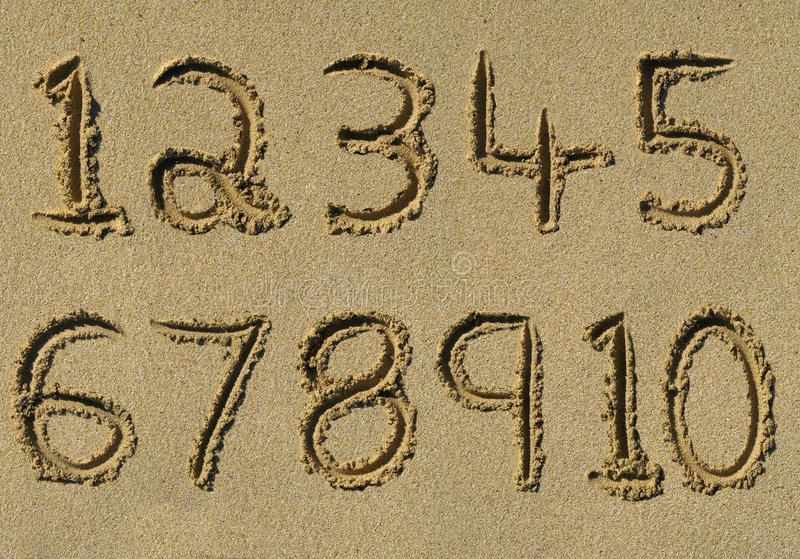 Download Numbers One To Ten Written On A Sandy Beach. Stock Illustration - Illustration of drawn, education: 8661107