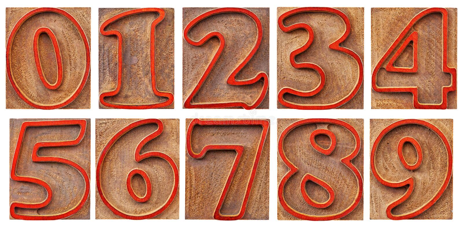 Numbers in outlined letterpress type. A set of isolated 10 numbers from zero to nine - letterpress wood type, outlined font stained by red ink royalty free stock image