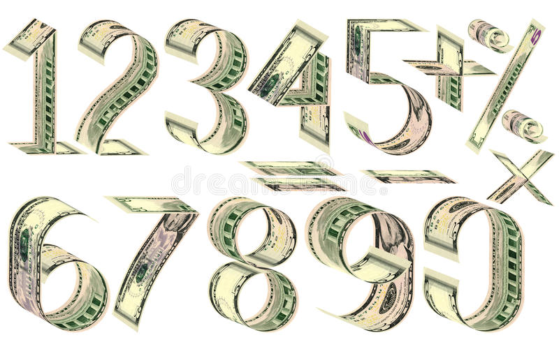 Numbers, percent and mathematical signs from dollars. Made of five dollar banknotes. Isolated on white royalty free illustration