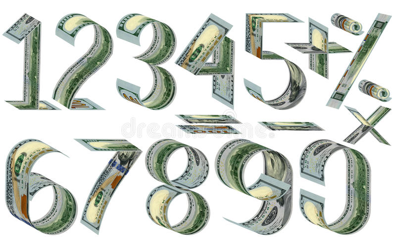 Numbers, percent and mathematical signs from dollars. Made of one hundred dollar banknotes. Isolated on white royalty free illustration