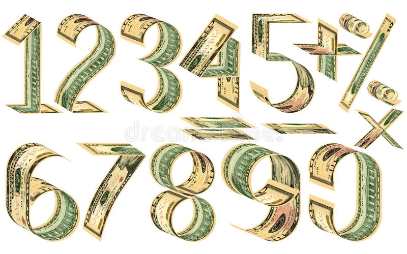 Numbers, percent and mathematical signs from dollars. Made of ten dollar banknotes. Isolated on white stock illustration