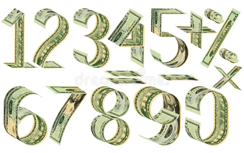 Numbers, percent and mathematical signs from dollars. Made of twenty dollar banknotes. Isolated on white royalty free illustration