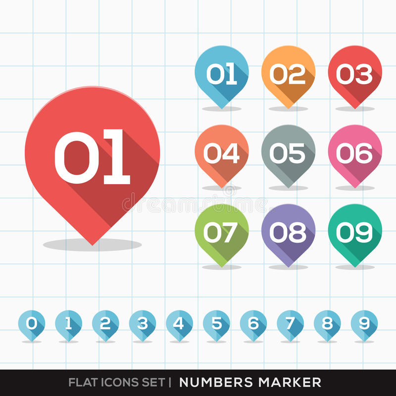 Numbers Pin Marker Flat Icons with long shadow Set. For GPS or Map