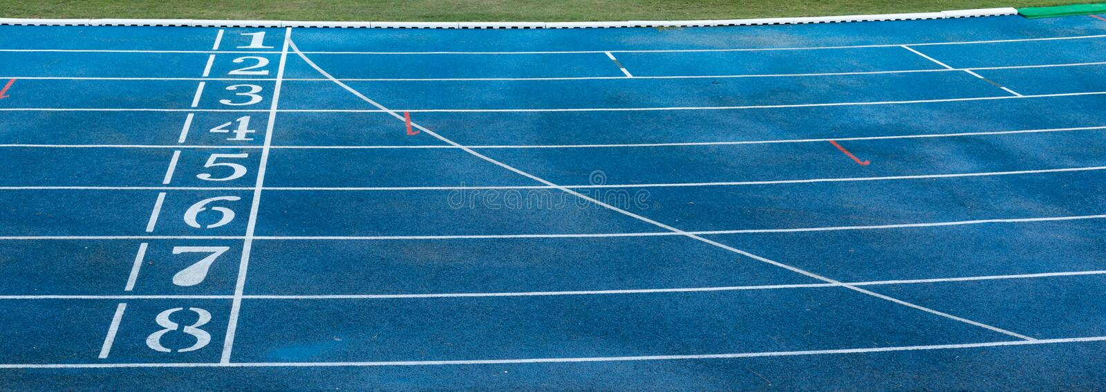 Numbers on running track. Numbers on blue running track royalty free stock image