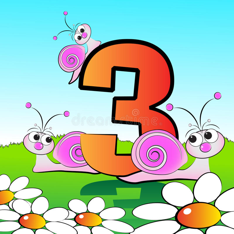 Numbers serie for kids - #03. Animals and numbers series for kids, from 0 to 9 - 3 snails vector illustration