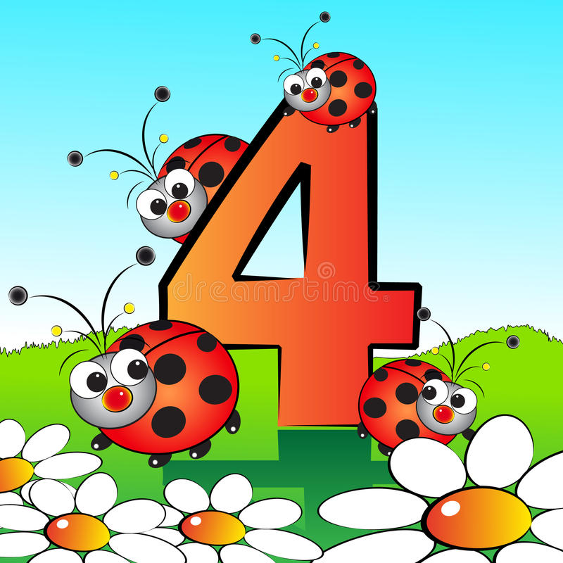 Numbers serie for kids - #04 royalty free stock images