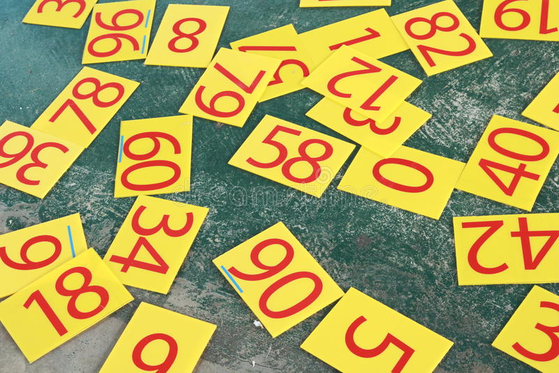 Numbers series painted on green wall. royalty free stock photos