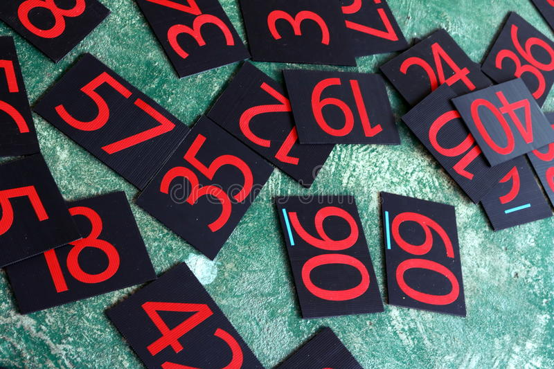 Numbers series painted on green wall. stock photo