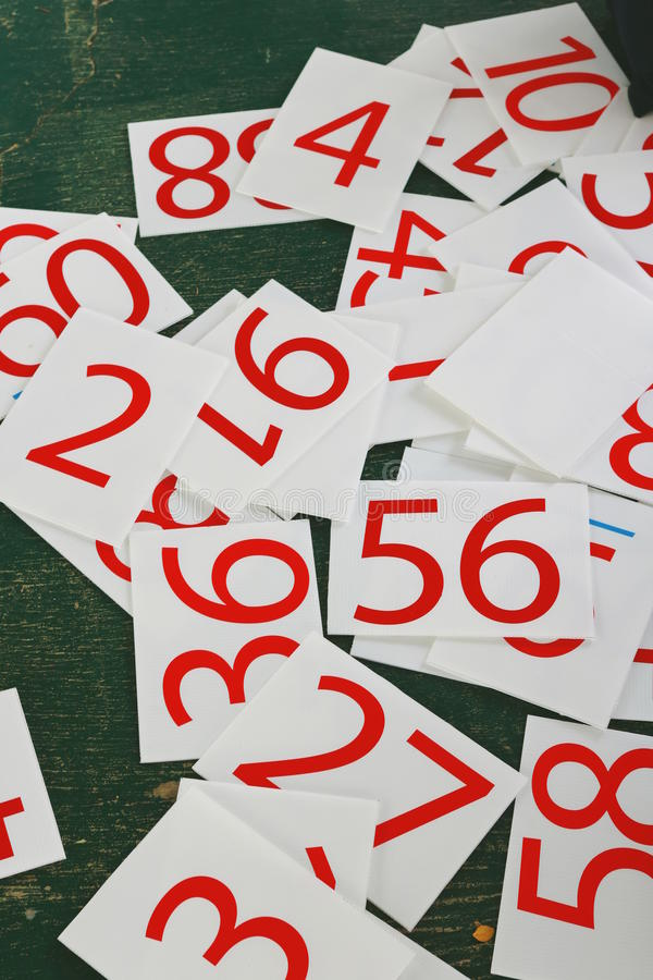 Numbers series painted on green wall. royalty free stock image