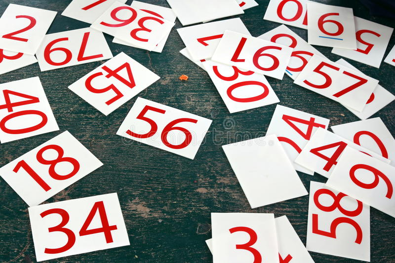 Numbers series painted on green wall. royalty free stock photography