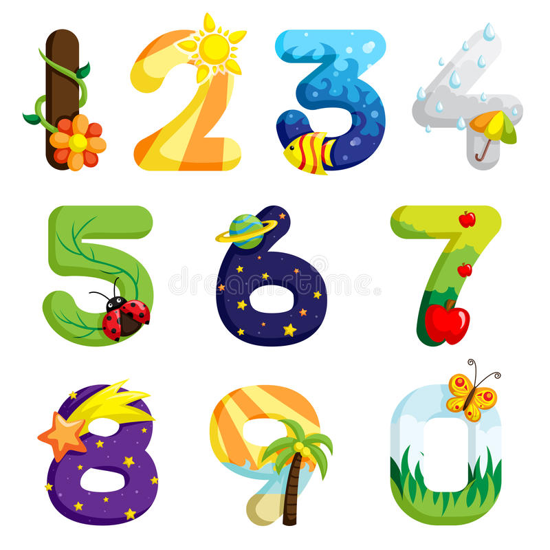 Numbers set. A vector illustration of a set of numbers in fun design vector illustration