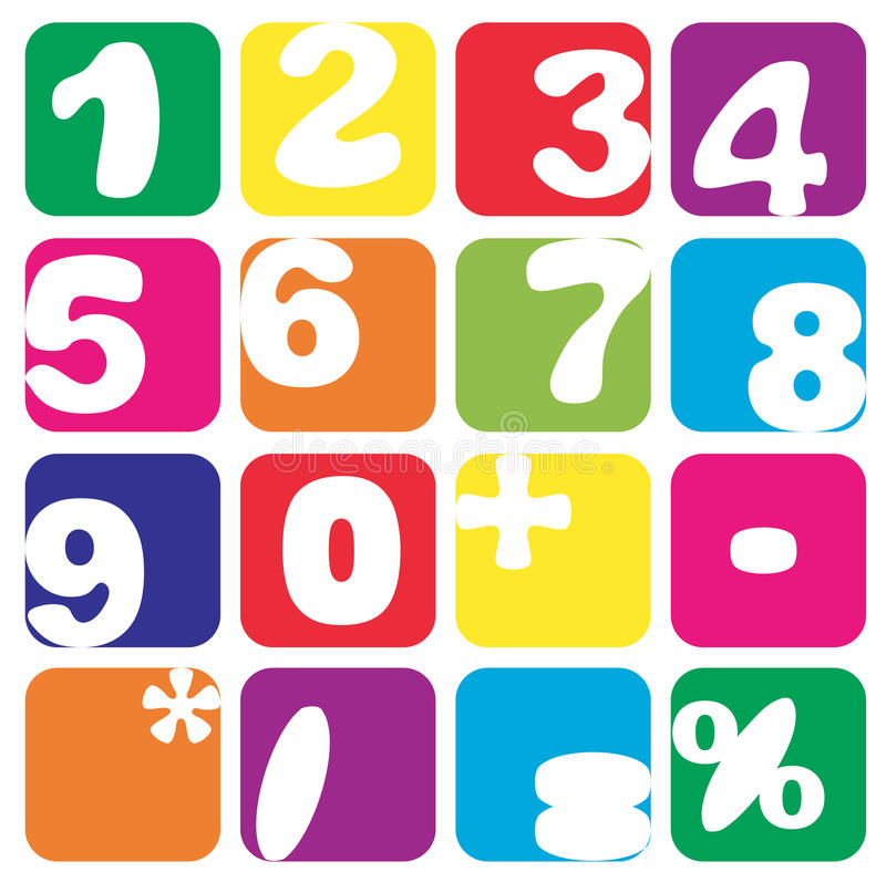 Numbers set. Funny handmade numbers in squares on white stock illustration