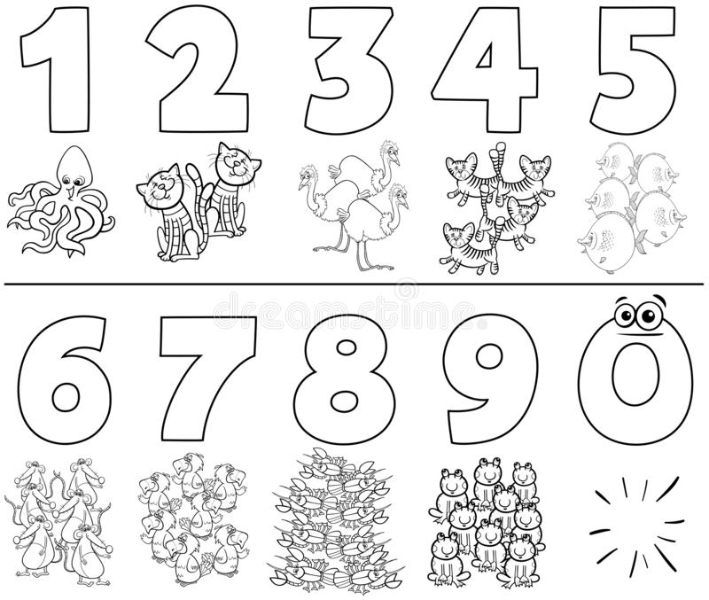 Numbers set with cartoon animals color book vector illustration