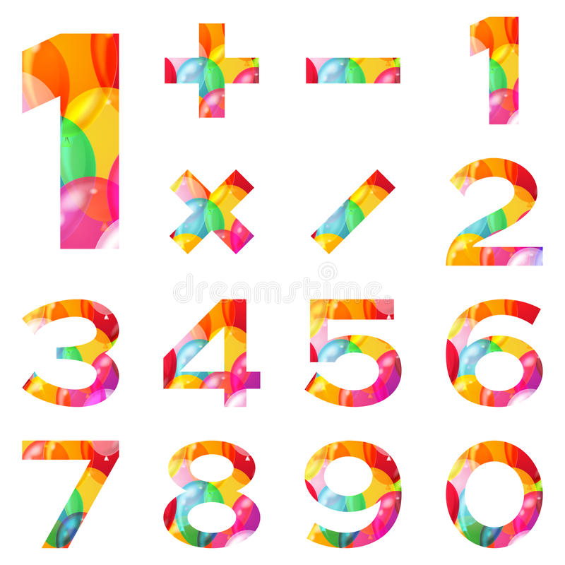 Numbers set, colorful balloons vector illustration