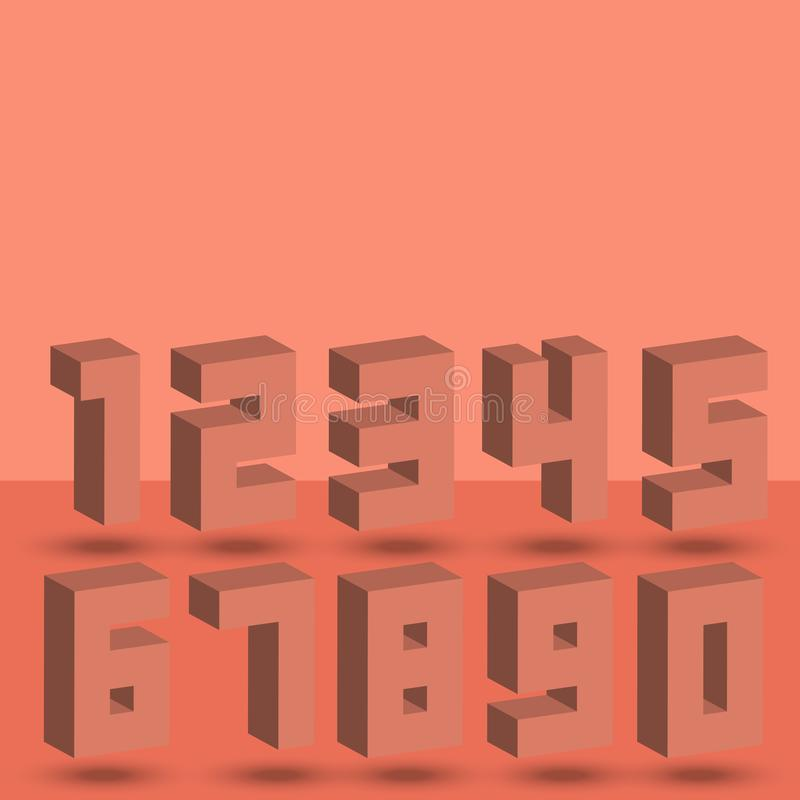 Numbers set of coral halftone 3D isometric style font numerals signs with shadows. Maths symbols light red modern figures for stock illustration