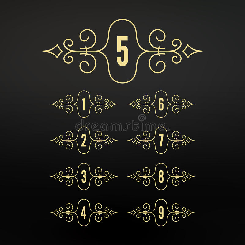 Numbers set. Frames in Linear Style. Flourishes Calligraphic Frame. Elegant Retro Style Design. Ornament Pattern. vector illustration