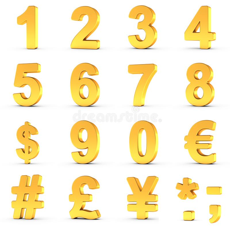 Numbers Set in Gold with clipping path for each object royalty free stock photo